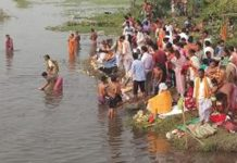 Chhath puja in Mahananda river-banks
